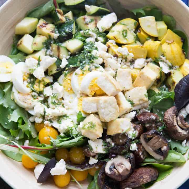This cobb salad is loaded with good stuff! Grilled veggies make this salad so good for you!
