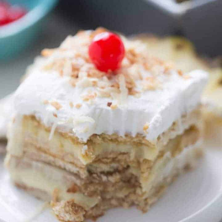 Pina Colada Ice Box No Bake Cake
