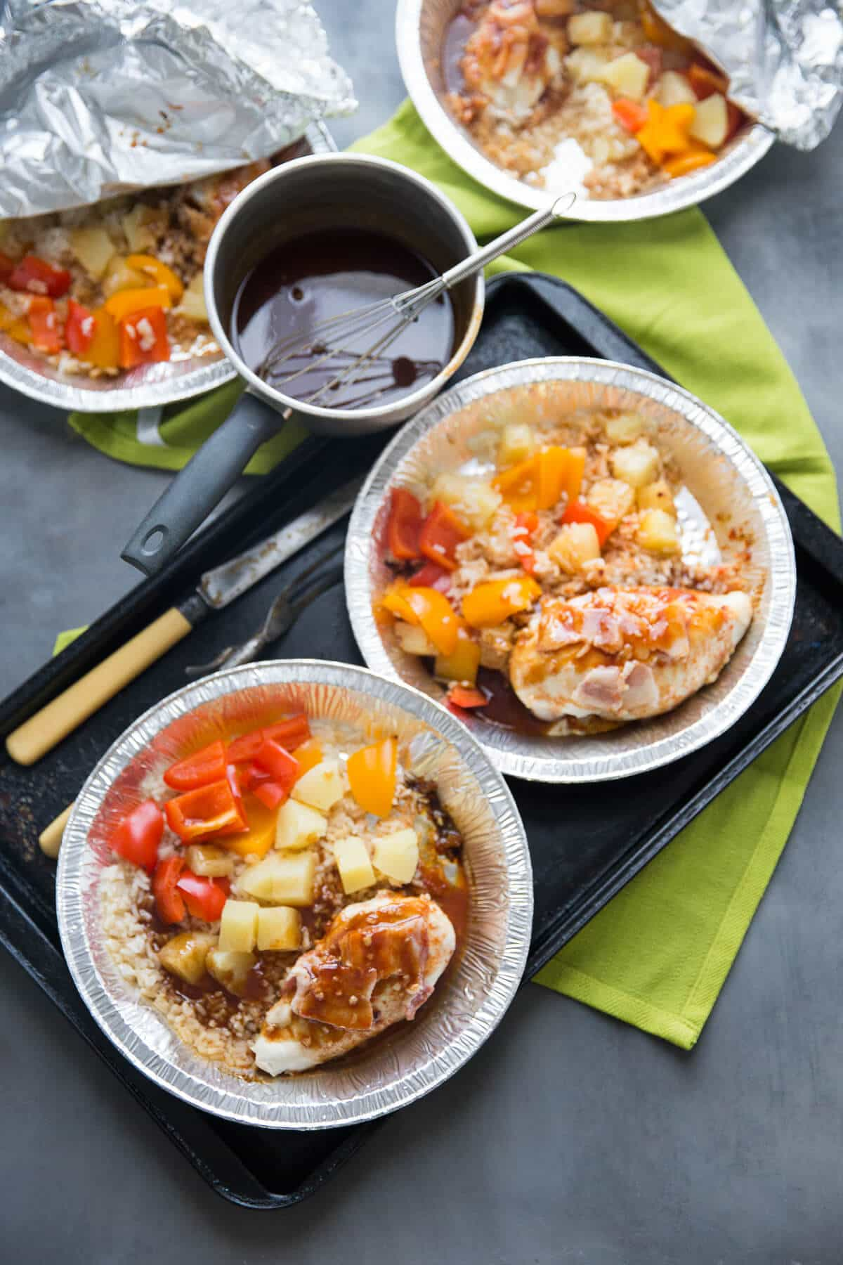 This pineapple chicken is a one pot meal that is cooked right on the grill! So easy and so good!