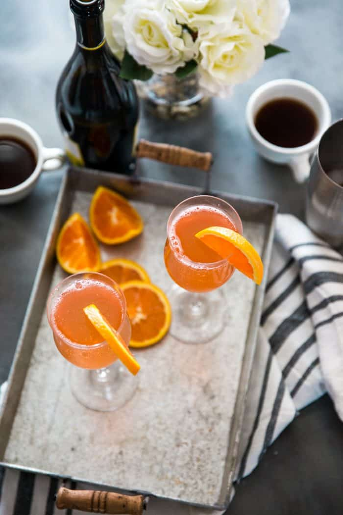 Fuzzy Navel cocktail tray with coffee