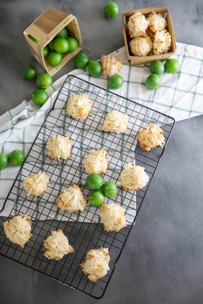 Coconut Macroon cookies on cookie rack