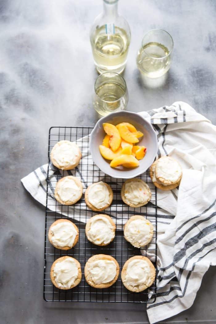 Peach bellini sugar cookies with prosecco