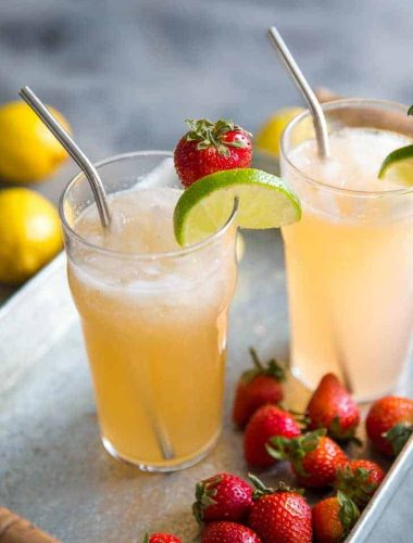 Bourbon cocktail with strawberries and lemonade