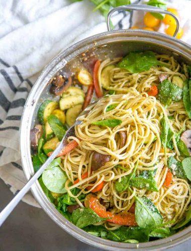 pasta primavera recipe with serving spoon