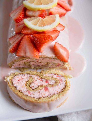 Strawberry Lemonade Cake sliced