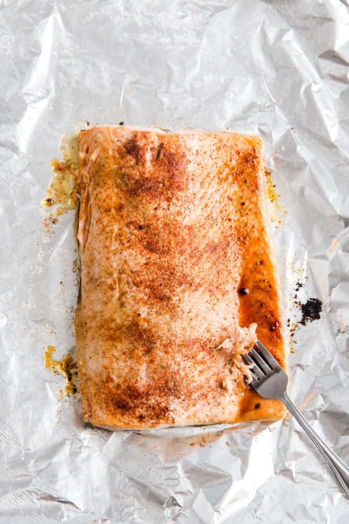 salmon on a baking sheet