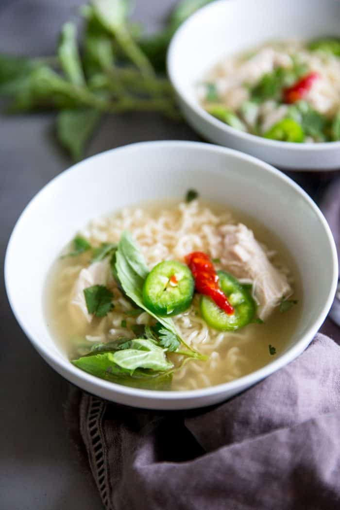chicken pho with jalapeno on top
