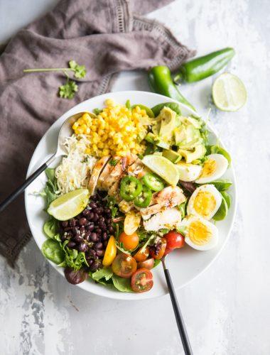 cobb salad recipe in a white bowl