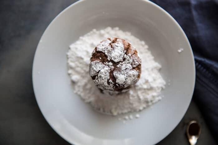 chocolate crinkle cookie looking down on it