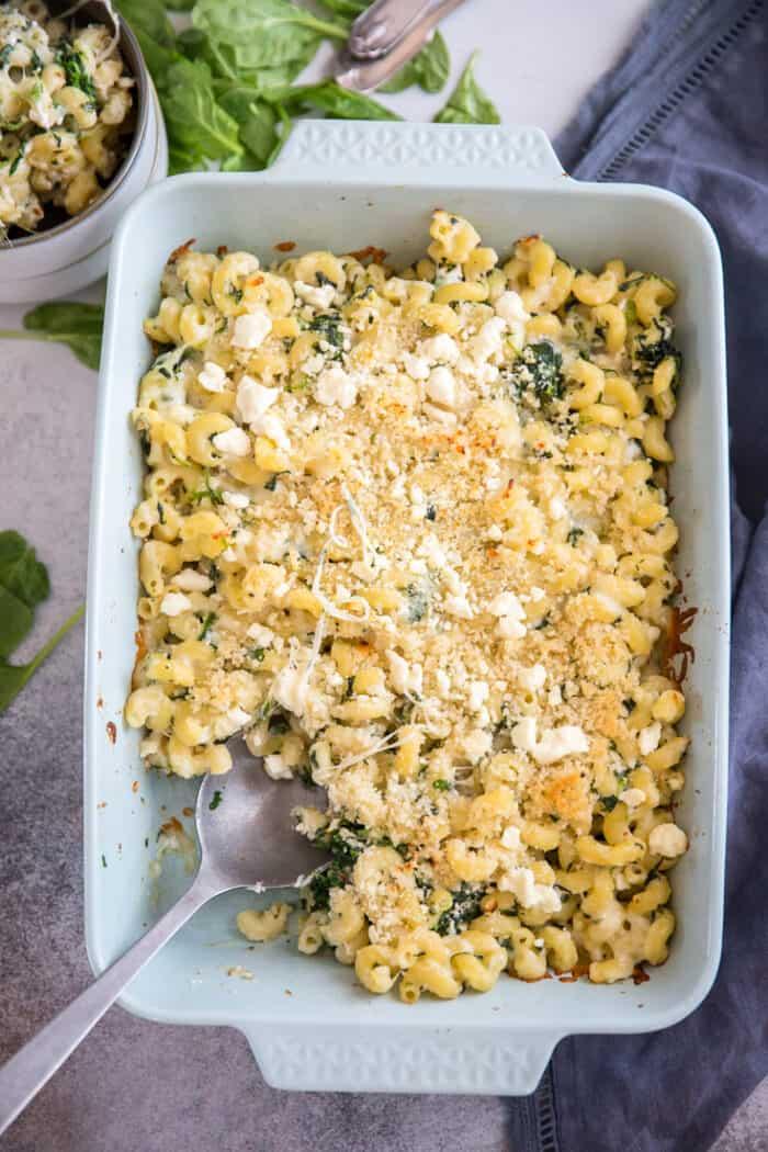 spanakopita mac and cheese blue baking dish