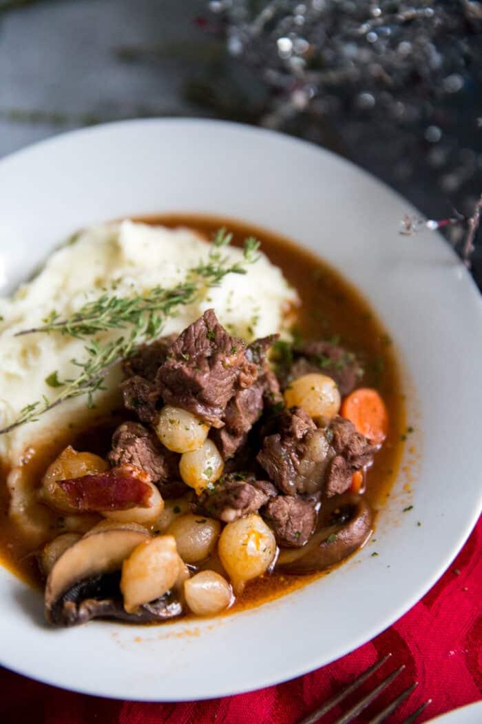 beef bourguignon close up