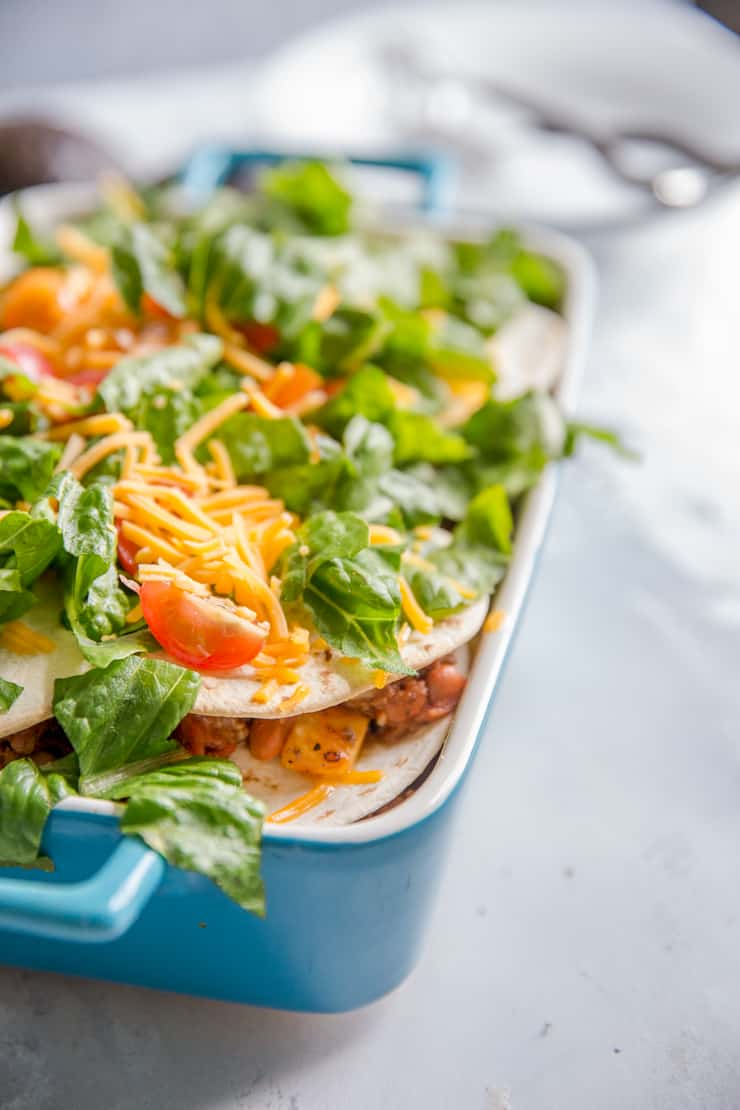 taco casserole with toppings