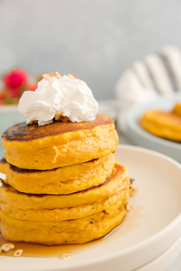 close up of a stack of pumpkin pancakes