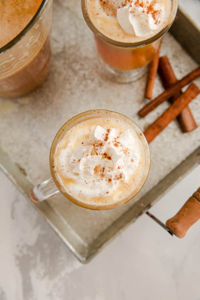 hot buttered rum mug with whipped cream