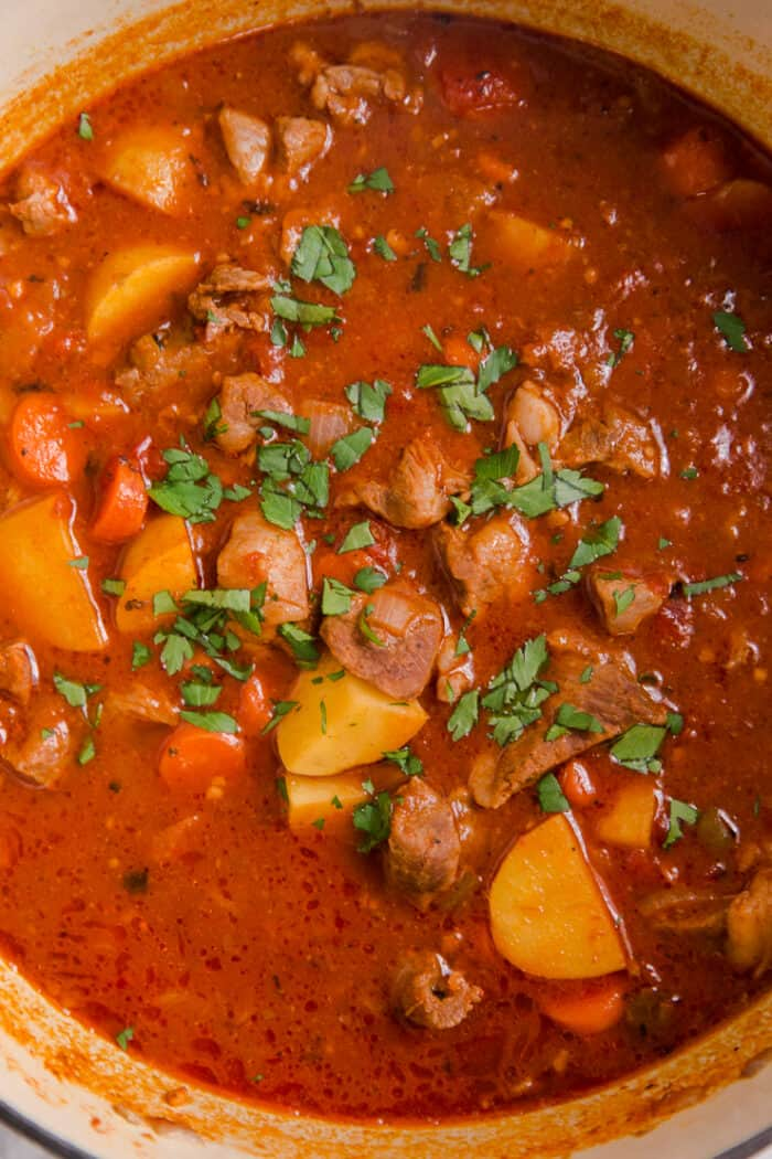 close up of the lamb stew
