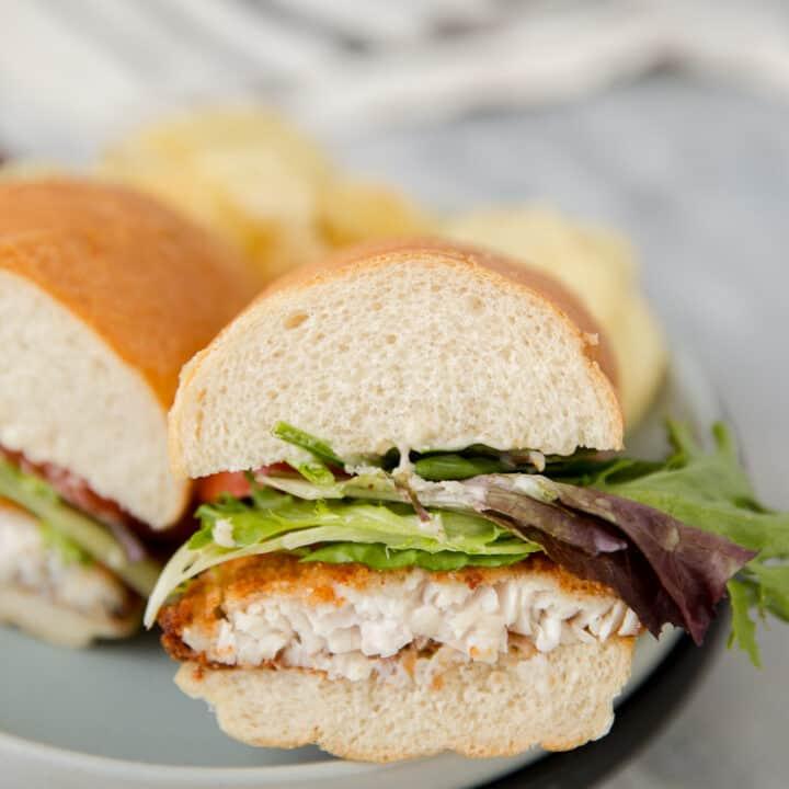 half of a fried catfish sandwich