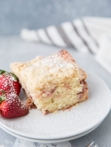 slice of crumb cake on a white plate