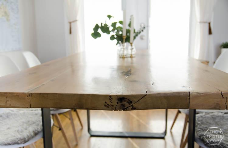 Diy Live Edge Table With Steel Base Lemon Thistle