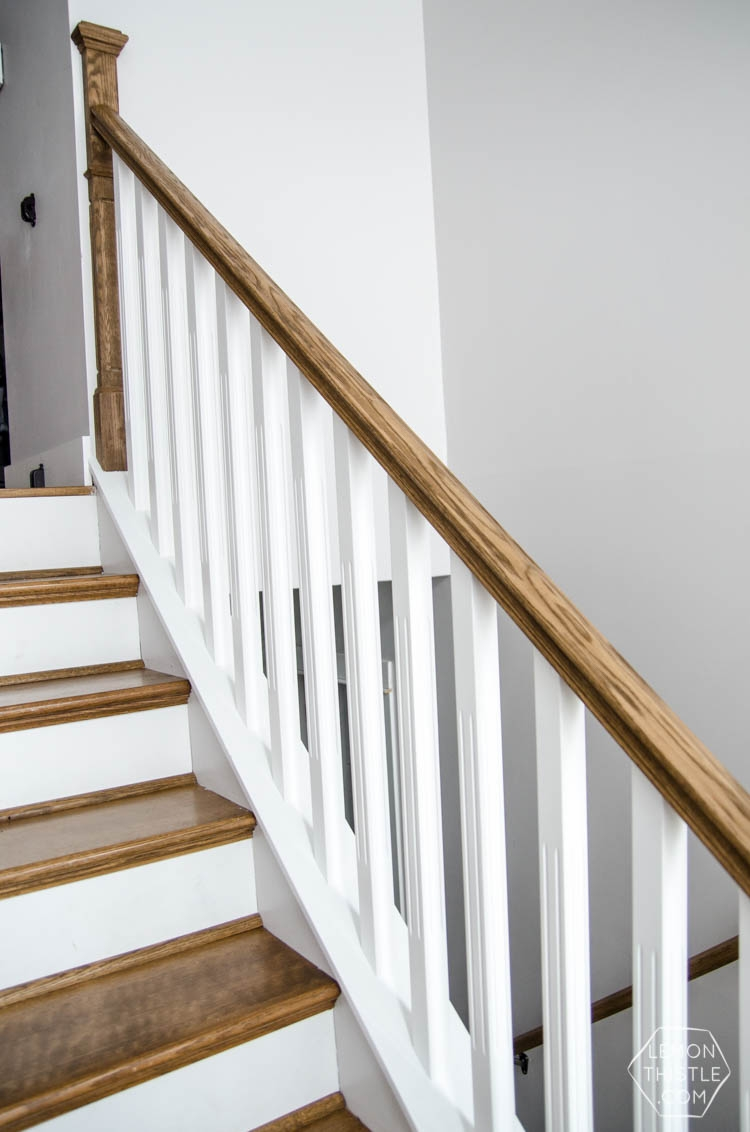 How To Install A Wooden Handrail On Split Level Stairs Lemon Thistle | Installing Metal Balusters Wood Railing | Stair Treads | Deck Railing | Iron Baluster | Iron Stair Spindles | Stair Rail