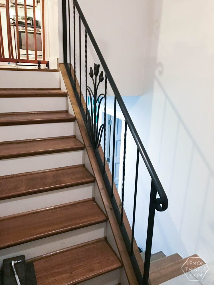 How To Install A Wooden Handrail On Split Level Stairs Lemon Thistle   Metal Railing With Wood Handrail   Horizontal Metal   Stair Railings   Flat Bar   Stair Parts   Wrought Iron Balusters