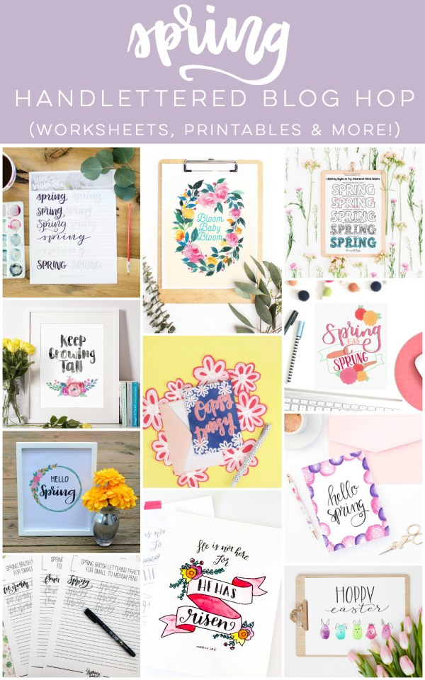 Spring Hand Lettering Blog hop- I LOVE all the tutorials and practice sheets!