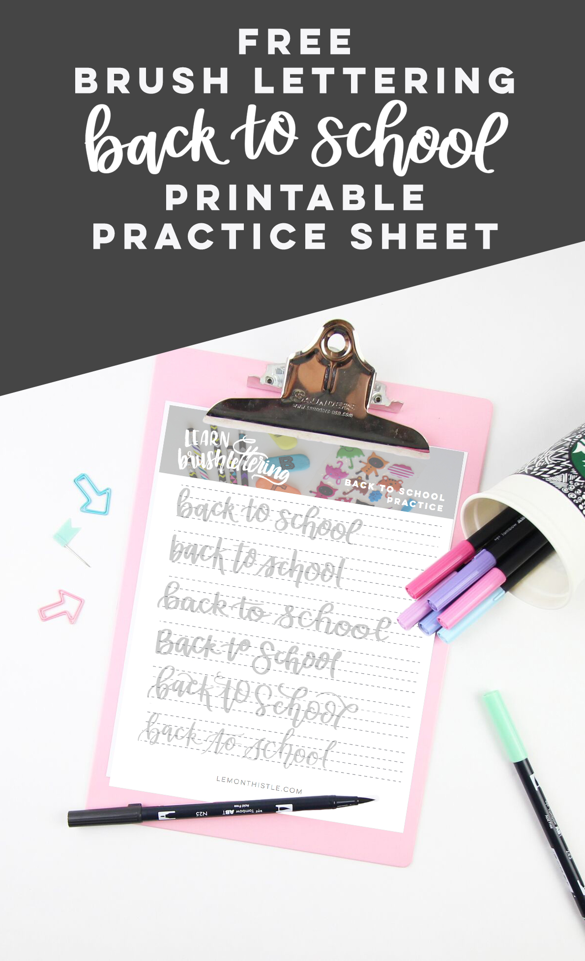 Printable Brush Lettering Practice Sheet Back To School
