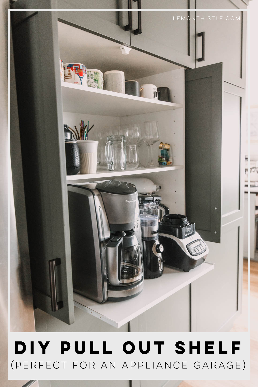 diy pull out shelf for appliance garage