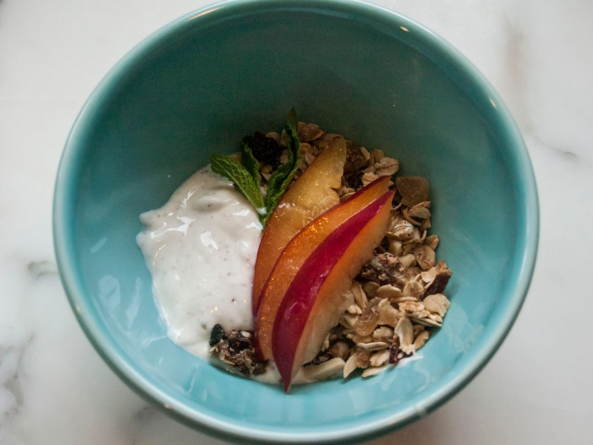Recipe for low fat granola to go with homemade yogurt with lemon plums. A healthy and nutritious breakfast that the whole family with love.