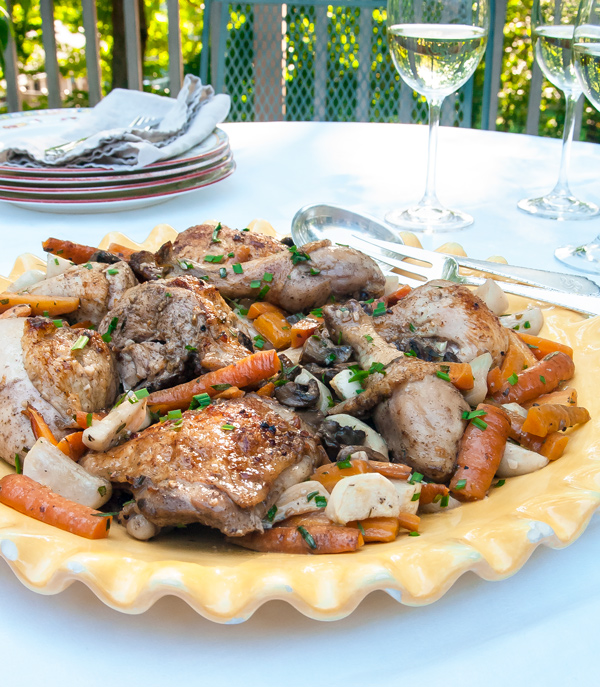 Mediterranean Style Roast Chicken with Carrots, Turnips and Tarragon