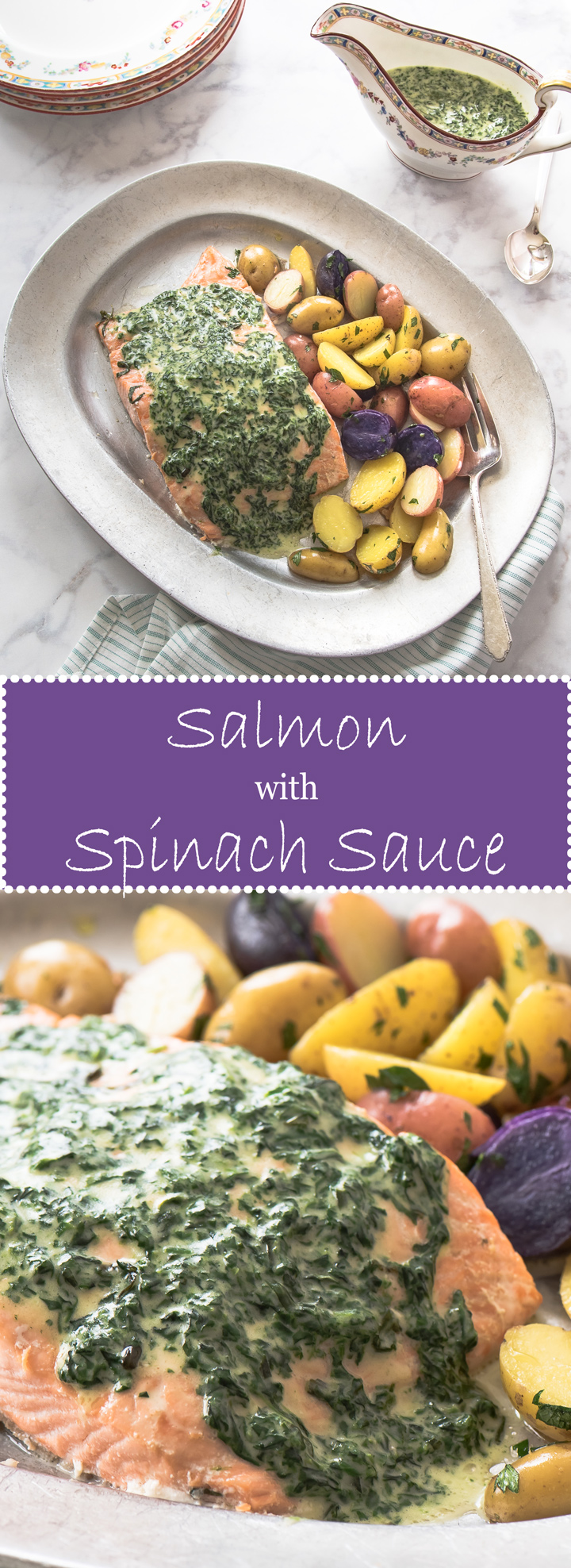 Oven Poached Salmon with Spinach Butter Sauce is an elegant meal for special occasions.