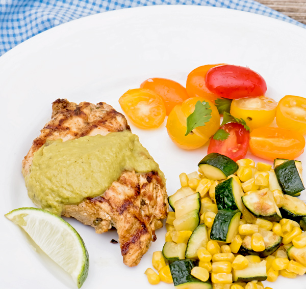 Poblano Chili Cream Sauce with Grilled Chicken Recipe