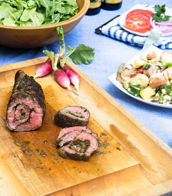 Rolled Flank Steak with Chimichurri Sauce recipe