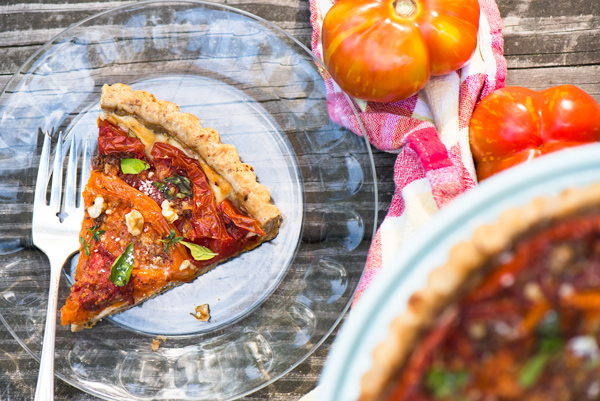 Tomato Tart with ricotta and Mediterranean spices.