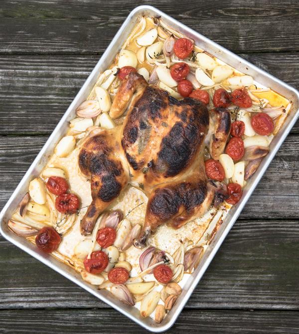 Honey Mustard Spatchcock Chicken Recipe.