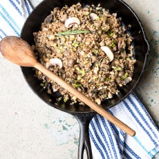 Toasted farro with mushrooms and rosemary recipe