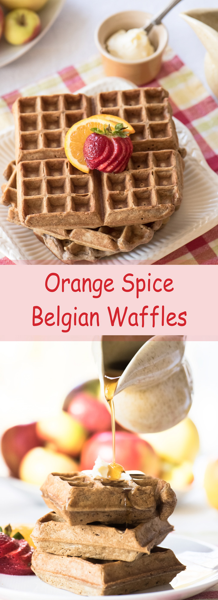Orange Spice Belgian Waffles recipe. Light and crispy waffles with the spices of pumpkin pie and fresh ginger.
