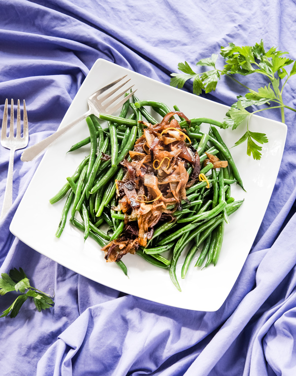 Holiday Green Beans with Roasted Onions Recipe.