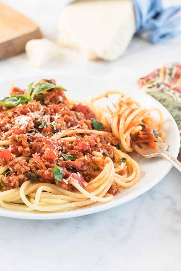 Spaghetti with Turkey Meat Sauce, recipe.