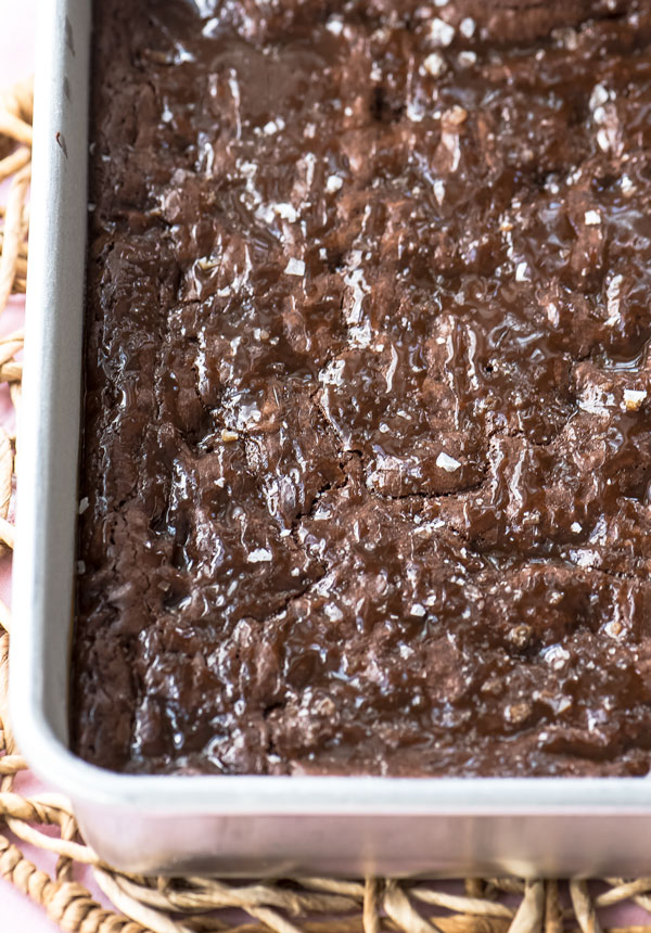 Fudgy Brownies with Sea Salt and Caramel, recipe
