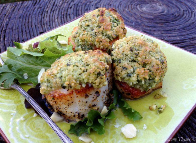 Seared Scallops with Macadamia Cilantro Lime Pesto