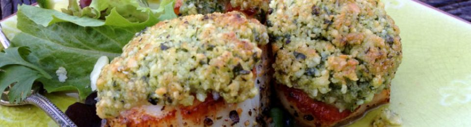 Seared Scallops with Macadamia Cilantro Lime Pesto