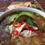 Closeup picture of Mexican Chicken Soup