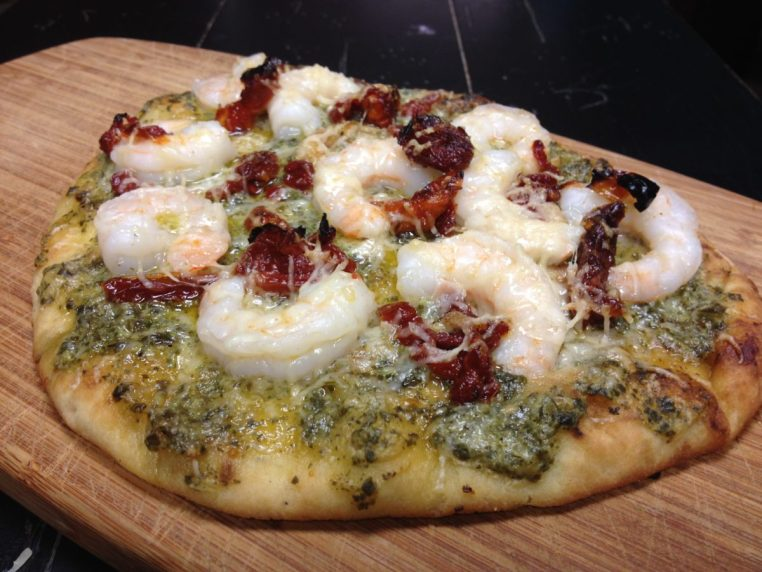 Pesto, Shrimp & Sundried Tomato Naan Flatbread Pizza