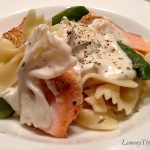 Salmon and Snow Pea Pasta with Tarragon Cream Sauce