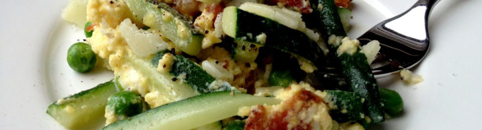 Zucchini Carbonara Scrambled Eggs