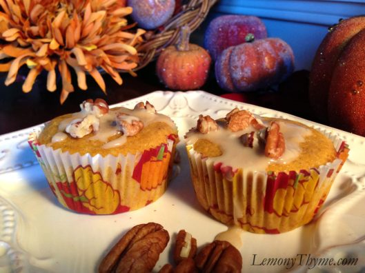 Pumpkin Rum Muffins with Maple Pecan Glaze