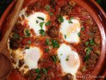 Kefta Mkaouara {Moroccan Spicy Meatball & Tomato Tagine with Poached Eggs}