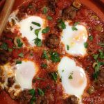 Kefta Mkaouara with Poached Eggs
