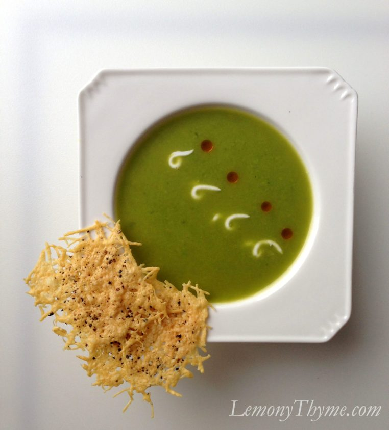 Sweet Pea & Parmesan Soup with Parmesan Crisps