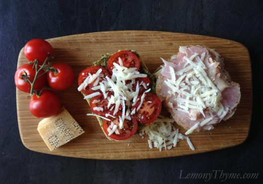 Parmesan Pesto Grilled Tomato Ham & Cheese